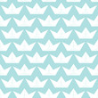 Seamless Pattern Paperboats & Waves Blue