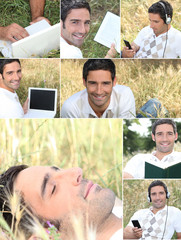 Montage of a man relaxing in the grass