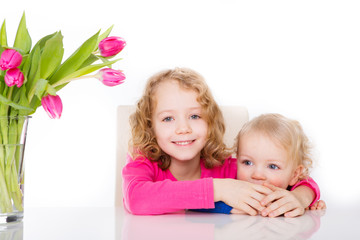 happy kids with flowers