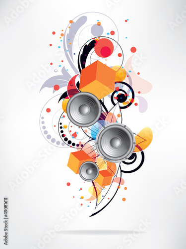 abstract music background with floral elements and swirls