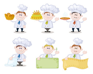 Set of cartoon cooks, chefs