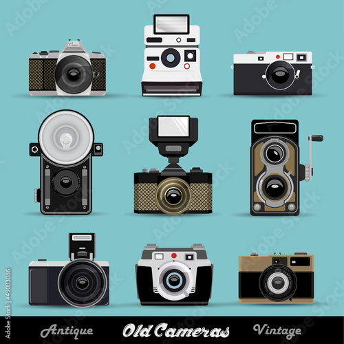 Set Of Vintage Retro Cameras