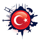 turkish flag and silhouette landmarks