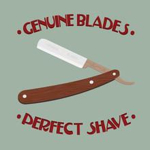Illustration de rétro rasoir avec manche en bois