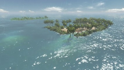 Flying over tropical islands
