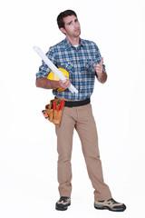 portrait of carpenter looking disgruntled