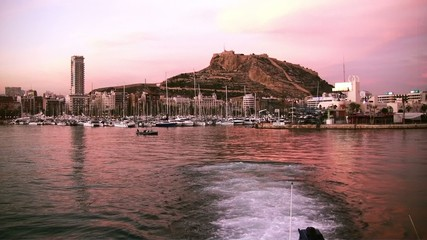 Port and Santa Barbara fortress in Alicante city; Spain.
