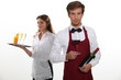 professional waiter and waitress