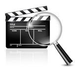 Film clap and magnifying glass - icon