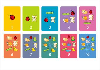 数字 生き物 カード カラフル