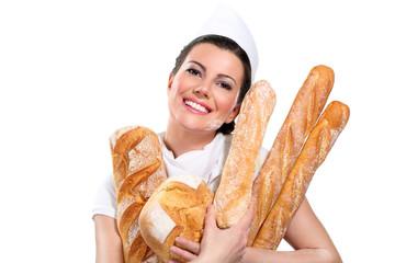 young beautiful woman showing bread