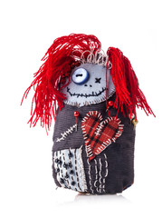 Handmade rag doll isolated on white background