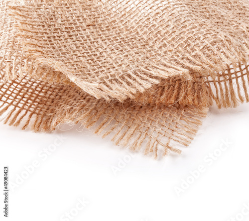 linen napkin isolated on white background, closeup