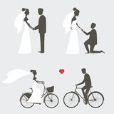 Set of bride and groom poses for wedding invitation
