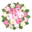 Bouquet of pink and white rose buds. Vector illustration.