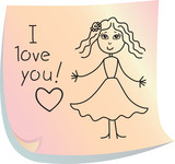 "Post-it with words ""I love you!"""