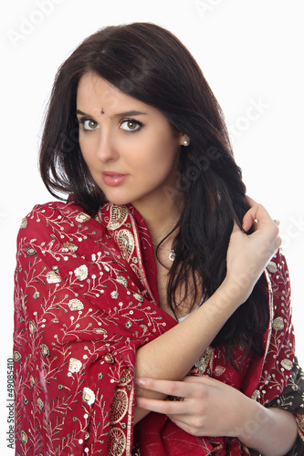 Young beautiful woman in sari