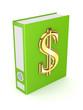 Green folder with golden symbol of dollar.