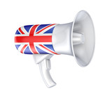 Loudspeaker with british flag.