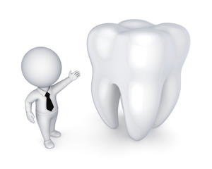 3d small person and white tooth.