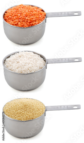 Staple ingredients - lentils, white rice and cous-cous - in cup