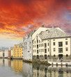 Small harbor in downtown of Alesund, with Reflections - Norway