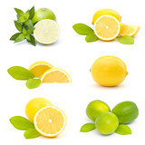 collection of fresh limes and lemons - collage
