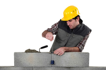 Tradesman using a plumb-bob