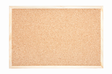 Cork board with wooden frame on white, clipping path included