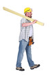 Man carrying plank of wood