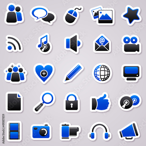 social media navy blue stickers