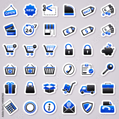 shopping navy blue stickers