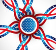 4th July badge ribbon of American independence day circle vector