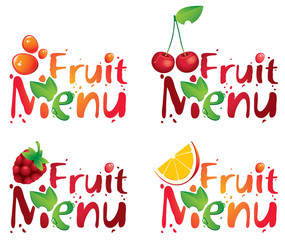four inscriptions Fruit menu with different berries and spray