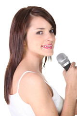 Young brunette with microphone