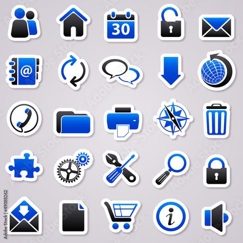 web navy blue stickers