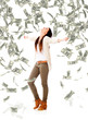 Woman under a money rain