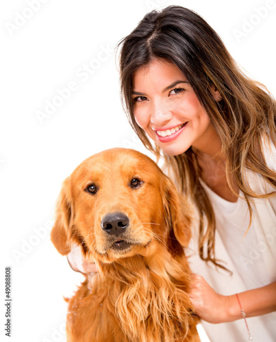 Happy woman with a dog
