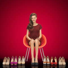 lovely teenage girl in red dress with shoes