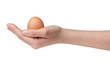 female teen hand holding egg