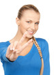 young woman showing victory sign