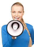 happy woman with megaphone
