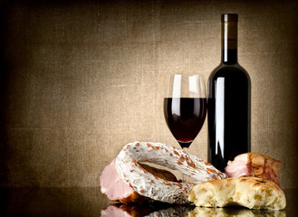 Wine and sausage, bread