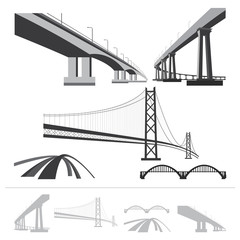 set of bridges, vector silhouette collection
