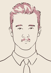 young man with fashionable hair and mustache hand drawn