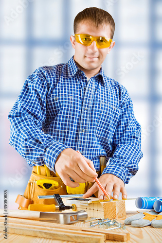 A worker. Fokus on hands