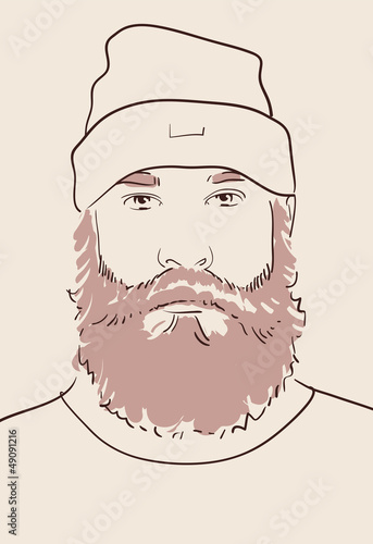 face of a man with beard and mustache hand drawn