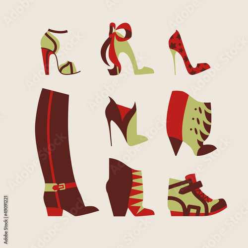 collection of woman shoes for day and evening vector