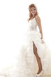Happy beautiful bride white background