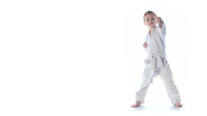 Karate boy exercising isolated against white background